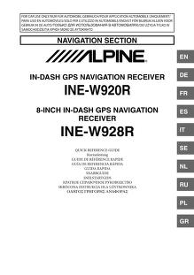 alpine - - INE-W920R-NS - Quick Reference Guide : Free Download ...