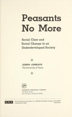Cover of: Peasants no more | Joseph Lopreato