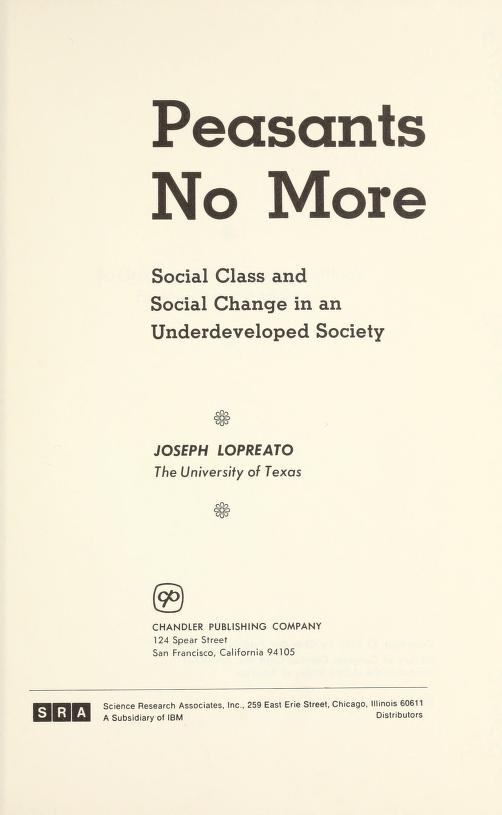 Peasants no more by Joseph Lopreato